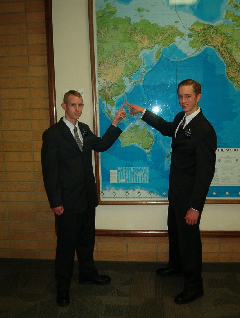 Elder Lewis and Me at the map pointing to the Philippines.