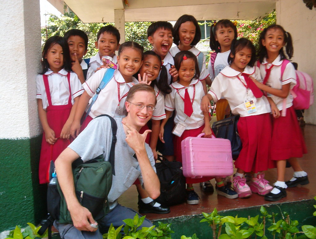 Playing with the kids at school in Manila.