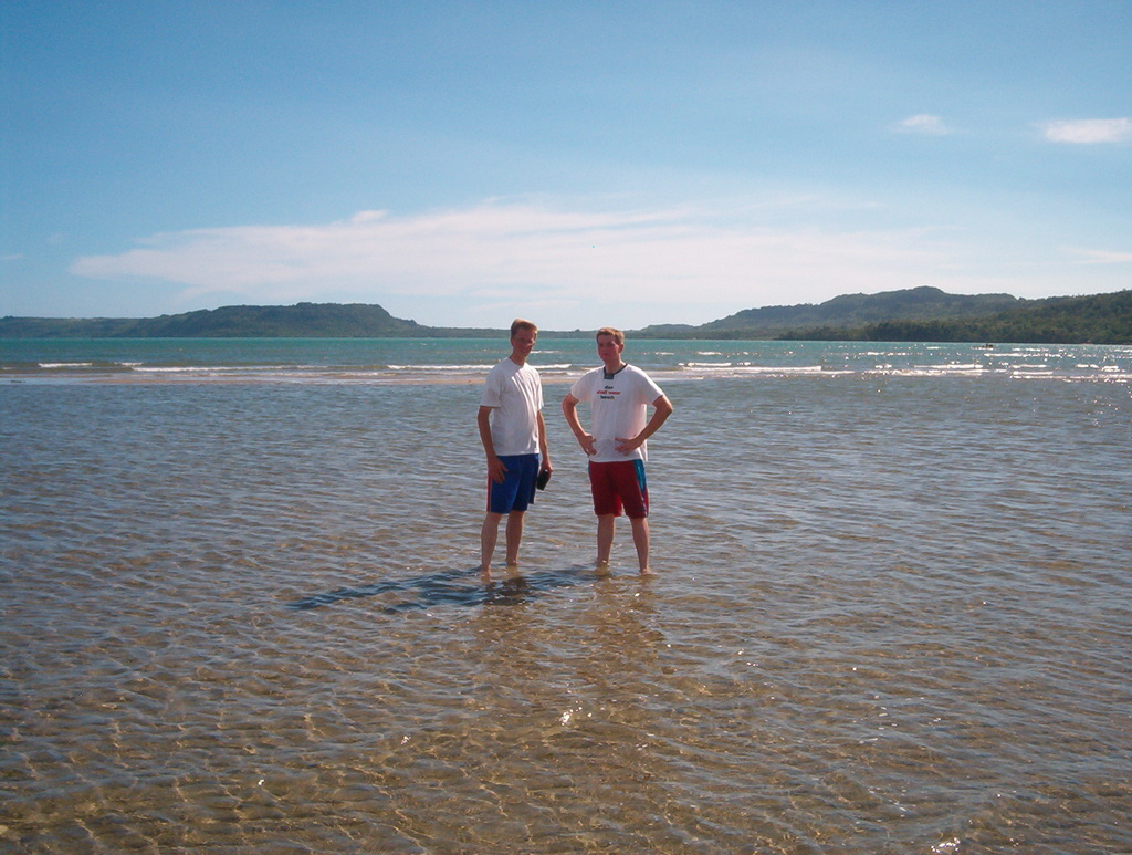 Elder Cox and me standing in the ocean after the zone activity.