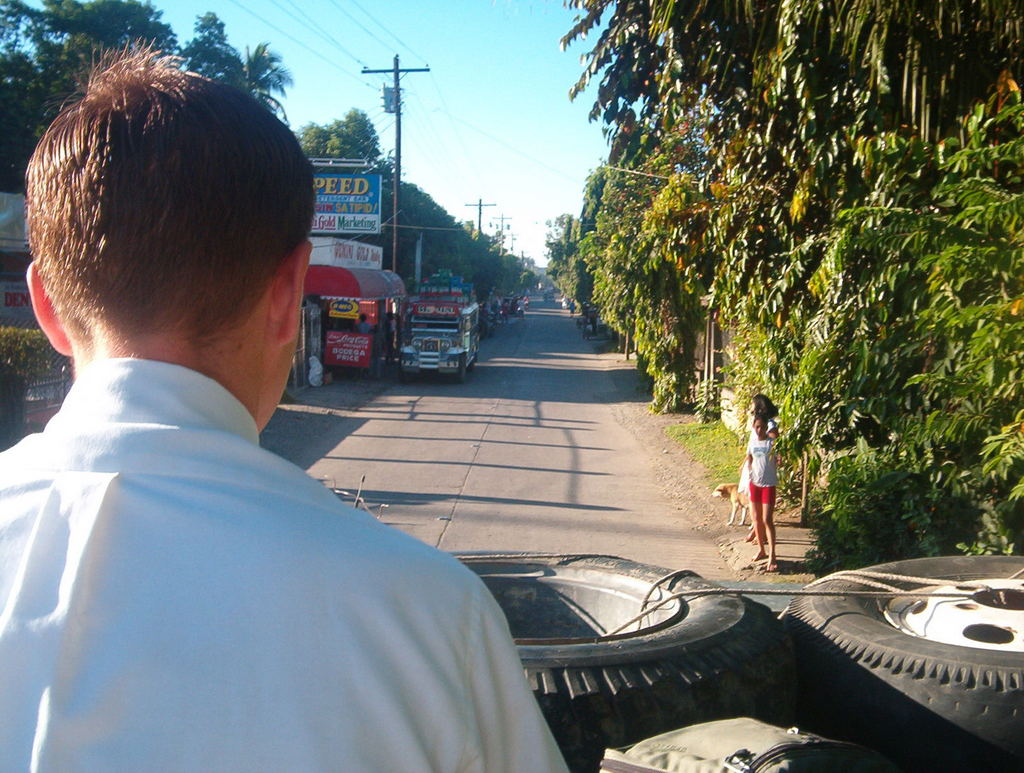 Riding on top of the jeepeny with Elder Cox