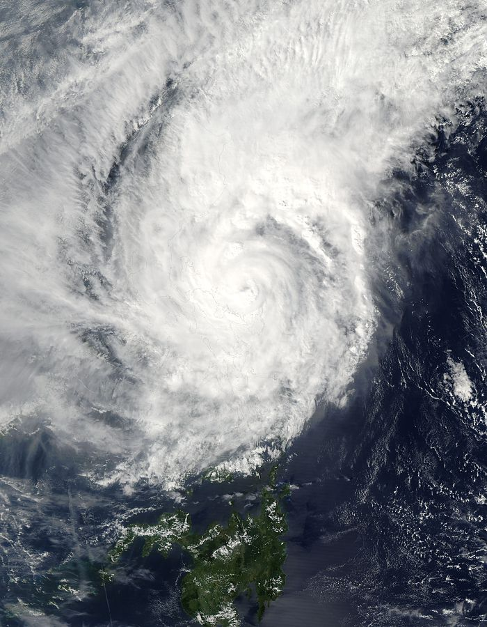 Satellite image of the typhoon.