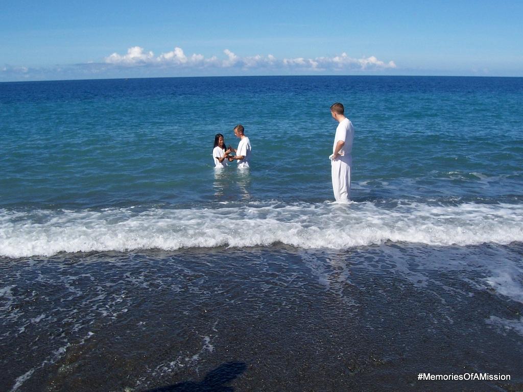 Me preparing to baptize Maricel in the ocean