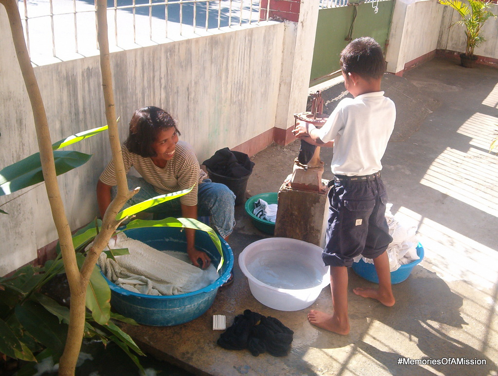 This is how we got our clothes washed. An endowed sister from the ward came every week and washed them for us.