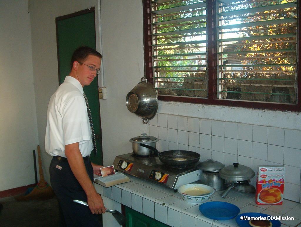 Cooking pancakes and studying Ang Aklat ni Mormon at the same time