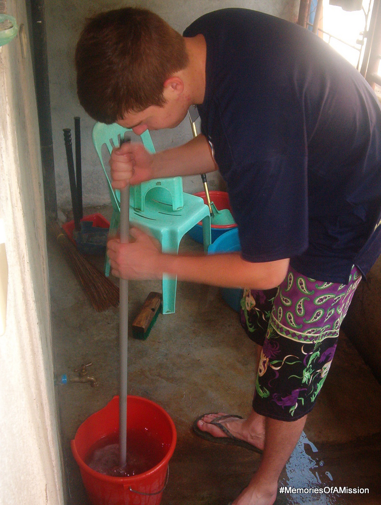 Elder Tharp cleaning